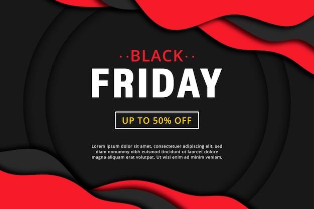 Papercut de banner de venta de viernes negro.