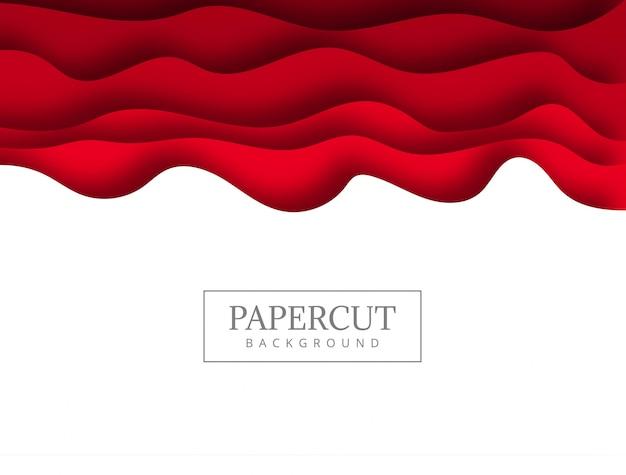 Papercut rojo abstracto con el fondo de la onda