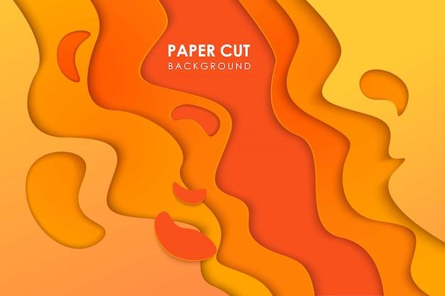 Papercut topografía geométrica ondulada o patrón de gradiente geométrico líquido cortado en papel sobre fondo amarillo naranja 3d multi capa