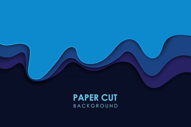 Papercut topografía geométrica ondulada o patrón de gradiente geométrico líquido cortado en papel sobre fondo azul de múltiples capas 3d