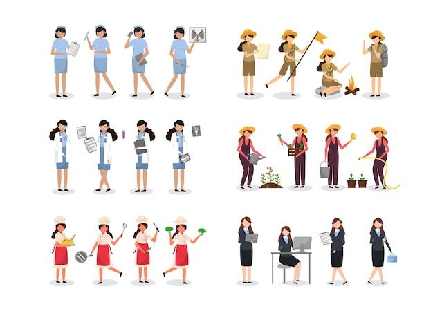 Paquete de 4 personajes femeninos de diversas profesiones, estilos de vida y expresiones de cada personaje en diferentes gestos, empresaria, enfermera, doctora, exploradora, chef, granjera
