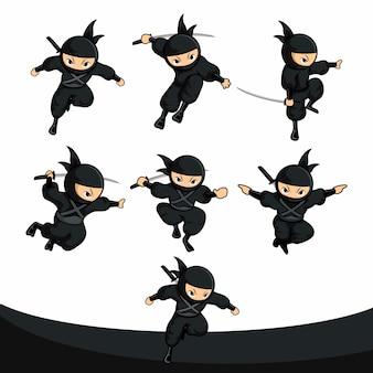 Paquete de acción de salto ninja negro de dibujos animados