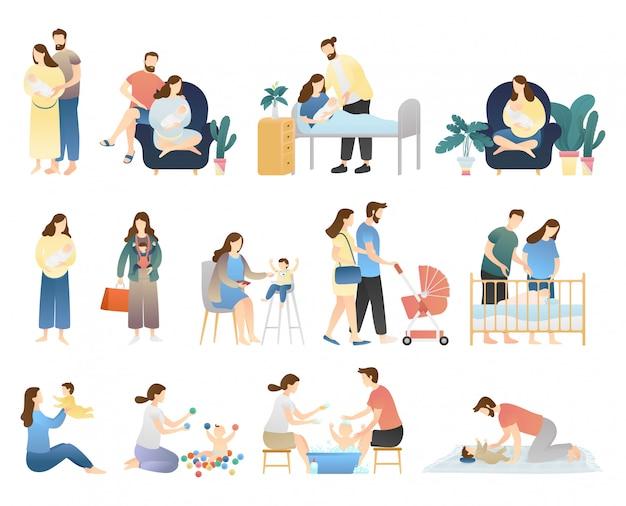 Paquete de actividades familiares. realizando actividades diarias, cuidando al hombre del bebé recién nacido, bebé sano, recién nacido, escenas de maternidad, familia feliz y maternidad feliz.