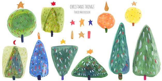 Paquete de acuarela verde de árboles de año nuevo