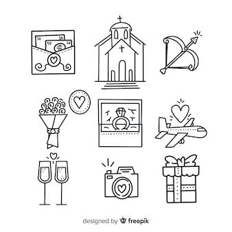 Paquete de adornos de boda decorativos dibujados a mano
