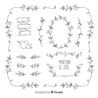 Paquete de adornos de boda dibujados a mano minimalista