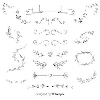 Paquete de adornos de boda dibujados a mano