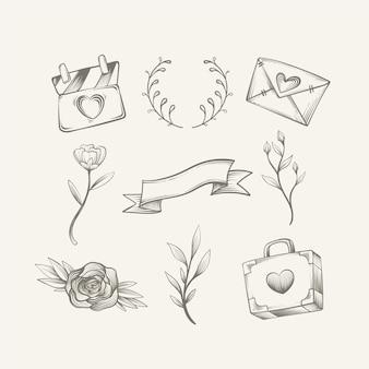 Paquete de adornos de boda estilo dibujado a mano