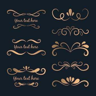 Paquete de adornos caligráficos dorados