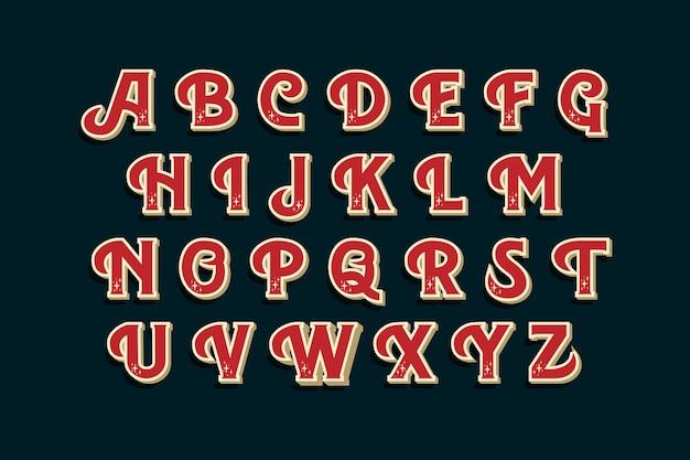Paquete de alfabeto de navidad vintage
