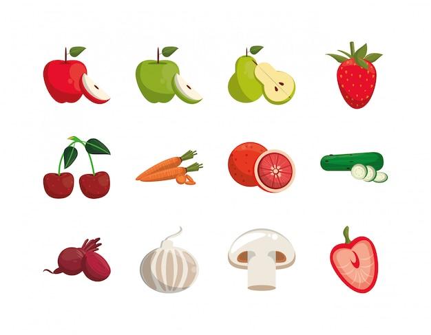 Paquete de alimentos nutritivos y saludables