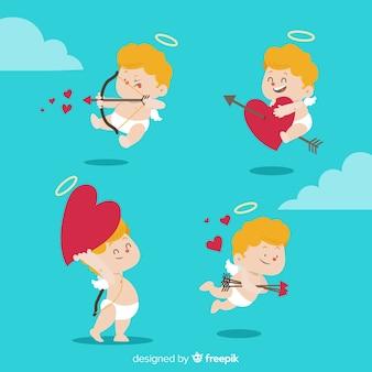 Paquete ángeles día de san valentín dibujadas a mano