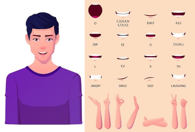 Paquete de animación de boca de hombre blanco con juego de sincronización de labios hombre con abrigo de traje negro para presentaciones con gestos de mano hifrent planos
