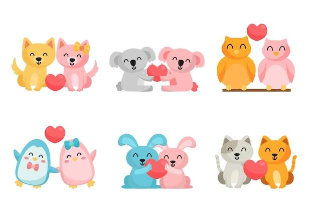 Paquete de animal de dibujos animados lindo en fondo de amor, personajes aislados concepto de ilustración de animal de dibujos animados encantador plano
