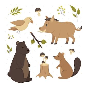 Paquete de animales del bosque otoñal dibujado a mano