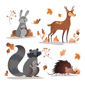 Paquete de animales del bosque otoñal