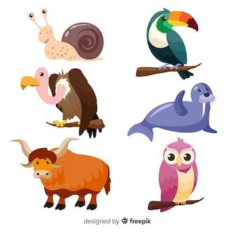 Paquete de animales coloridos dibujos animados de vida silvestre