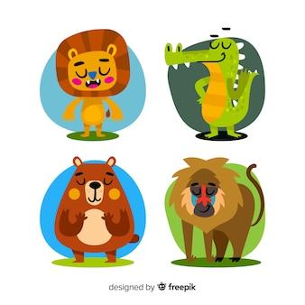 Paquete de animales de dibujos animados de diseño plano