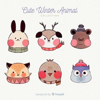Paquete animales invierno  dibujados a mano