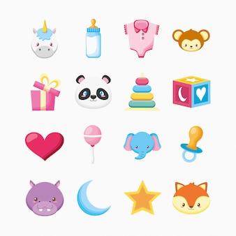 Paquete de animales lindos y diseño de ilustración de juguetes para bebés