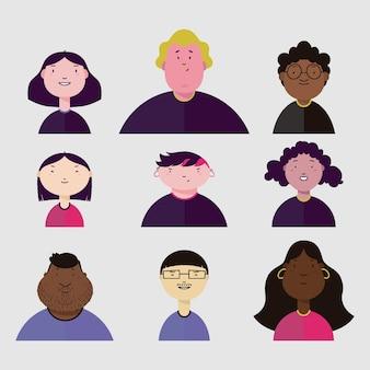 Paquete de avatar de personas diversas
