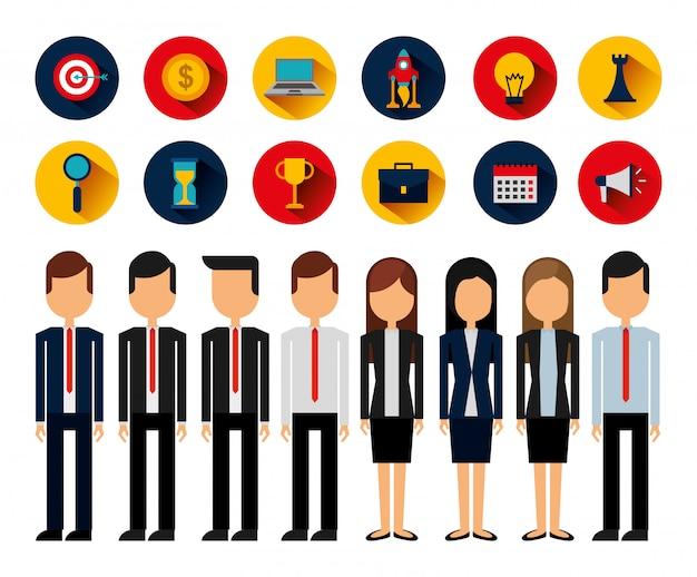Paquete de avatares y suministros de personas de negocios