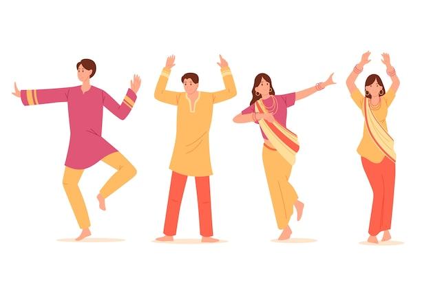 Paquete de baile creativo de personas de la fiesta de bollywood