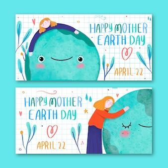 Paquete de banner del día de la madre tierra dibujado a mano