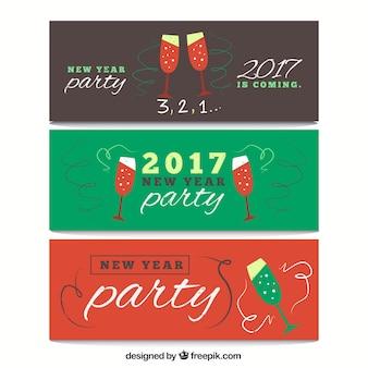 Paquete de banners de año nuevo dibujados a mano