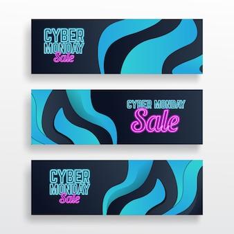Paquete de banners de cyber monday
