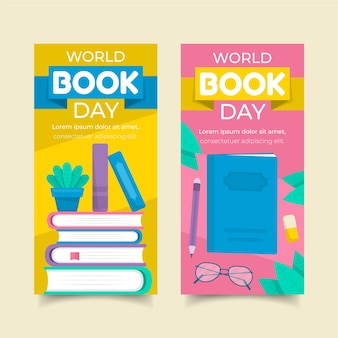 Paquete de banners del día mundial del libro