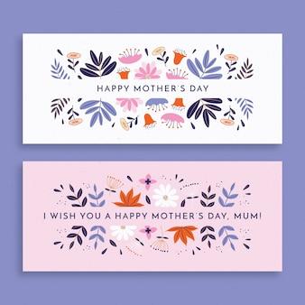 Paquete de banners de diseño plano para el día de la madre