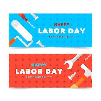 Paquete de banners de diseño plano para el día del trabajo