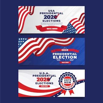 Paquete de banners de elecciones presidenciales de ee. uu. 2020