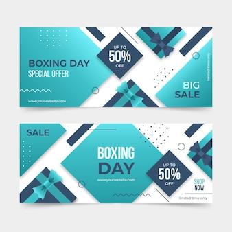 Paquete de banners de eventos del día del boxeo horizontal