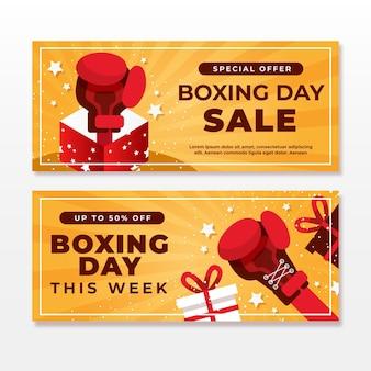 Paquete de banners de eventos del día del boxeo