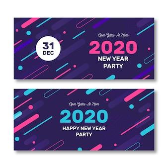 Paquete de banners de fiesta de año nuevo 2020 abstracto