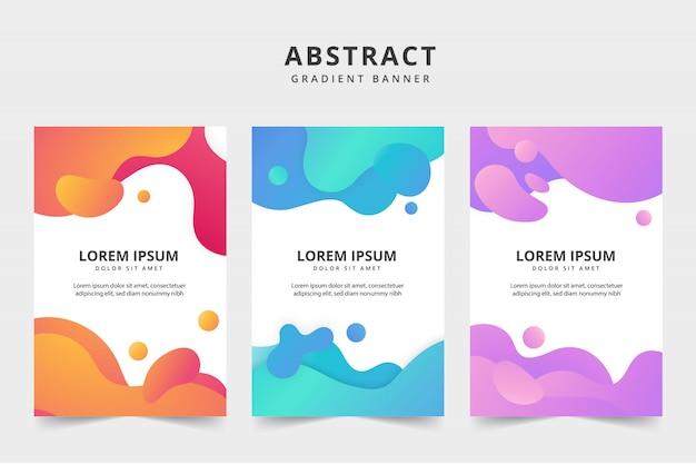 Paquete de banners de negocios de color líquido
