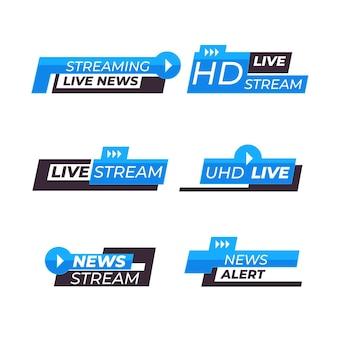 Paquete de banners de noticias de transmisiones en vivo