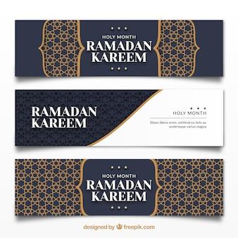 Paquete de banners de ramadán con ornamentos