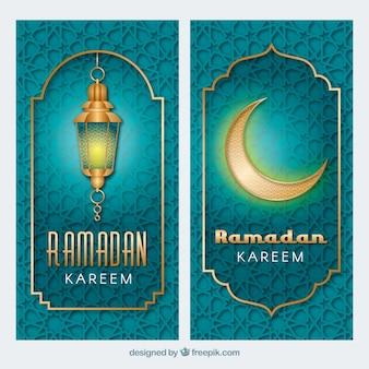 Paquete de banners de ramadán con patrón y ornamentos dorados