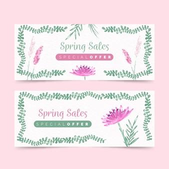 Paquete de banners de rebajas de primavera
