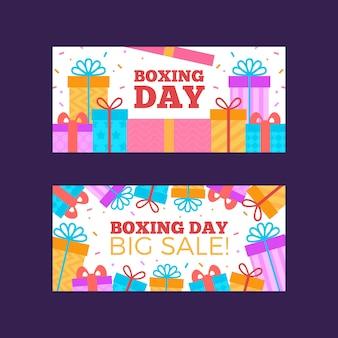 Paquete de banners de venta del día del boxeo
