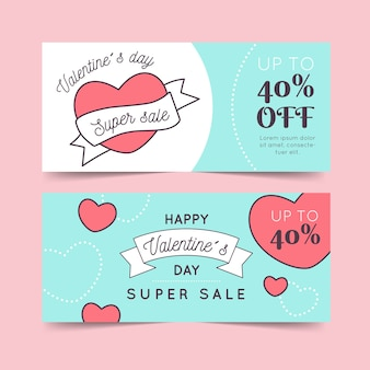 Paquete de banners de venta de día de san valentín de diseño plano