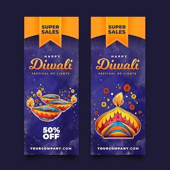 Paquete de banners de venta de diwali