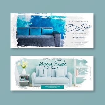 Paquete de banners de venta de muebles con foto.