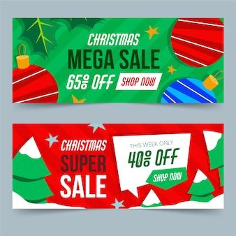 Paquete de banners de venta navideña de diseño plano