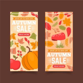 Paquete de banners de venta de otoño de diseño plano