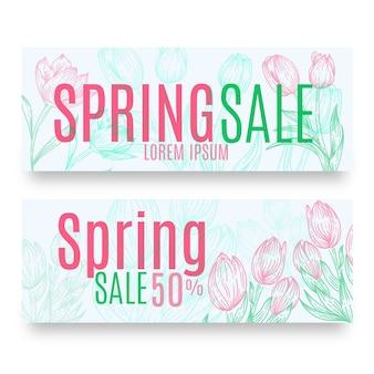 Paquete de banners de venta de primavera dibujados a mano