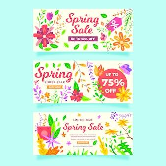 Paquete de banners de venta de primavera de diseño plano